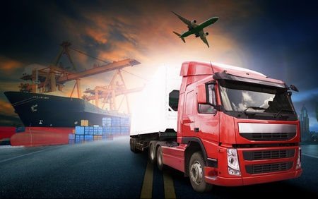 45713965 - container truck ,ship in port and freight cargo plane in transport and import-export commercial logistic ,shipping business industry